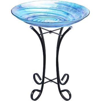 "MUMTOP Outdoor Glass Birdbath with Metal Stand for Lawn Yard Garden Decor,18"" Dia/21.65 Height"