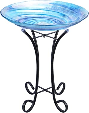 "MUMTOP Outdoor Glass Birdbath with Metal Stand for Lawn Yard Garden Decor,18"" Dia/21.65 Height"