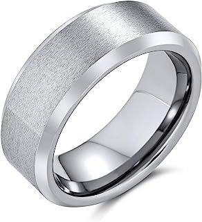 Bling Jewelry Ampio Bordo smussato Lucido Spazzolato Coppie opache Titanio Nero Argento-Tono Anello per Gli Uomini Comfort...