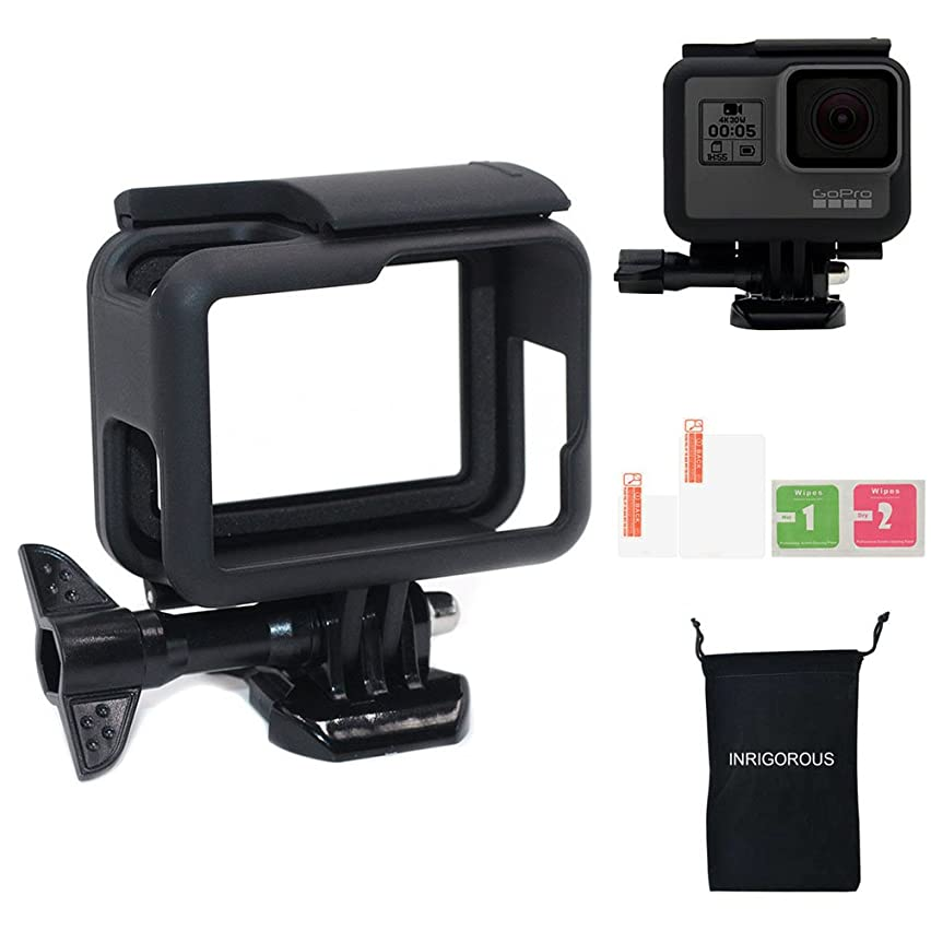 Frame Housing Case for Gopro Hero 5 6 Black, Housing Mount Protective Shell Accessories for GoPro Hero6 Hero5 Black with Screen Lens Protector + Free INRIGOROUS Storage Bag