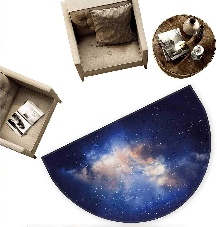 Galaxy Semicircle Doormat Nebula in Cloudy Sky Magical View of Far Stars in Night Sky Milky Way Universe Print Halfmoon doormats H 78.7  xD 118.1  Navy bluee