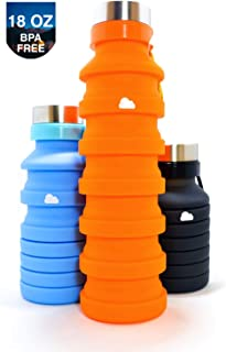 FUE Co. Cloud Bottle   Collapsible Water Bottle   Environmentally Friendly   Made for Travel/Gym/Outdoor/Sports   Food Grade Silicone : BPA Free : FDA Approved : 18 oz