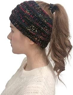 Zhaoyun Women Winter Tough Headwear Stretchy Soft Knitted Comfort Ponytail Hats Skullies Beanies Cap