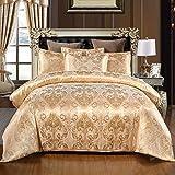 Cupocupa Romantisch Satin Bettwäsche 2 Teilig Barock Muster,Verdeckter Reißverschluss, Farbe: Golden, 155x220 cm Bettbezug mit 1 mal Kissenbezug 80x80 cm