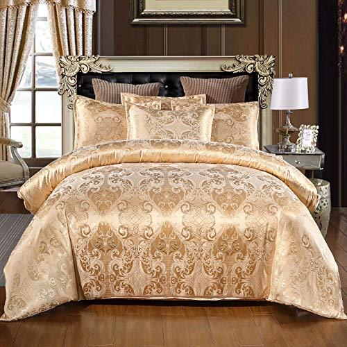 Cupocupa Ropa de cama romántica de satén, 2 piezas, diseño barroco, cremallera oculta, color: dorado, funda nórdica de 155 x 220 cm con 1 funda de almohada de 80 x 80 cm