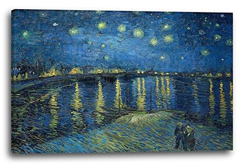 Printed Paintings Leinwand (120x80cm): Vincent Van Gogh - Sternennacht über die Rhône (1888)