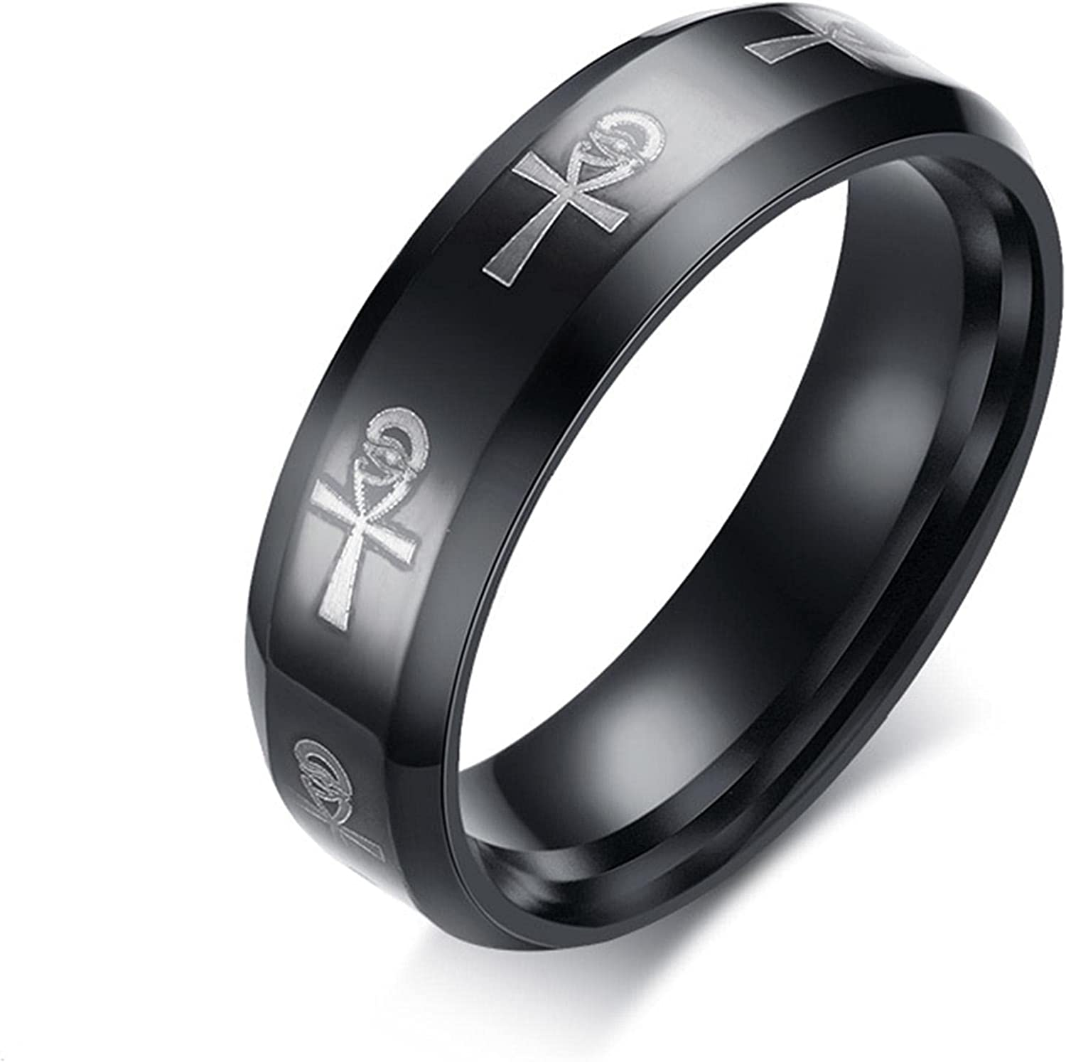 Men's Challenge the lowest price of Japan ☆ Ankh Ring Egyptian Cross with Eye Sta Religious Band Horus 55% OFF