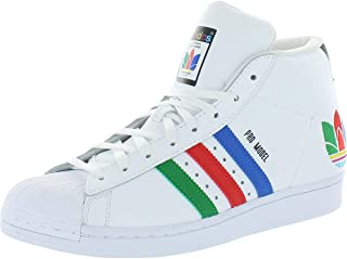adidas Originals Mens Pro Model Leather Striped Mid-Top Sneakers