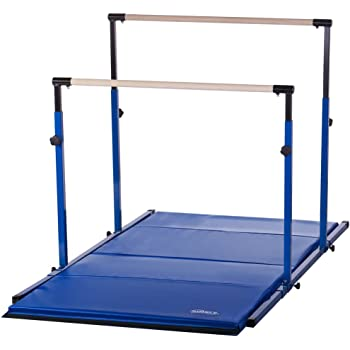 Nimble Sports Blue 3Play Gymnastics Bars - Parallel Bars - Uneven Bars with Blue Tumble Mat Combo