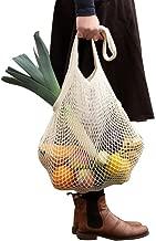 Reusable Produce Cotton Mesh Bag- SURDOCA Natural Cotton Net String Shopping Tote Bag-Beige (1pc)