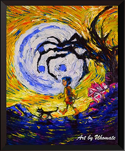 Uhomate Póster Decorativo de Pared de Vinilo Coraline Van Gogh Starry Night para decoración de…