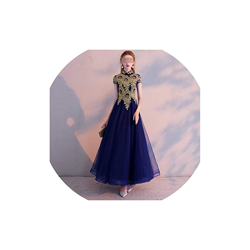 Dghu Evening Dress Vintage Gold Lace Embroidery Party Dresses Elegant Long Formal Gown