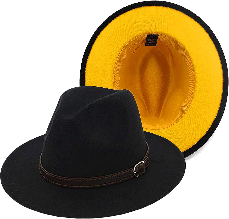 Gossifan Women's Classic Felt Fedora Wide Brim Hat with Belt Buckle