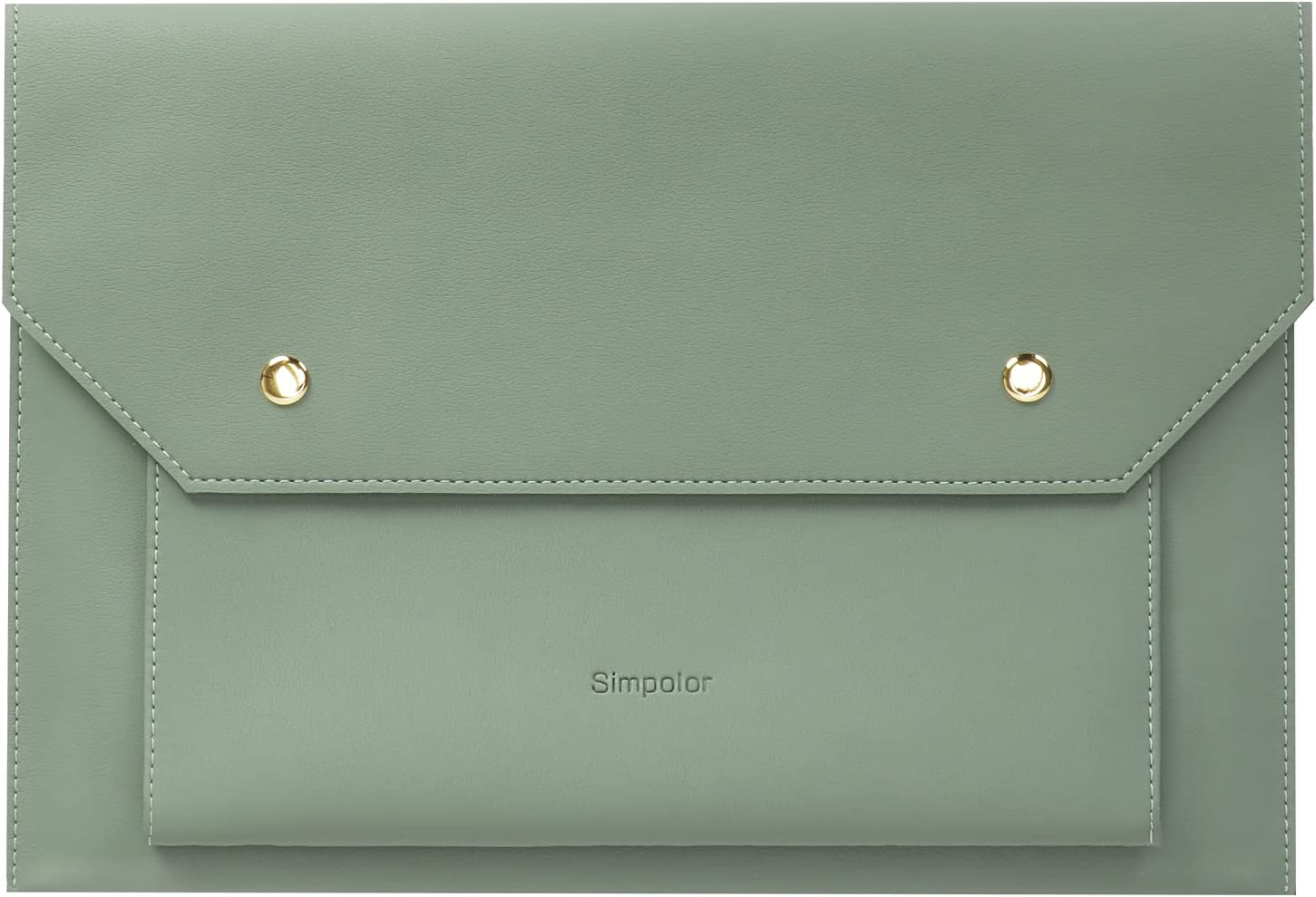 Simpolor Laptop Sleeve, Premium Leather Skinny Document Bag for