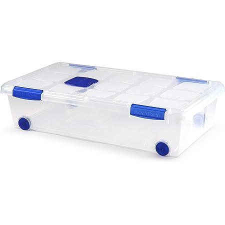 Plastic Forte Boîte de rangement transparente avec roulettes 30 l