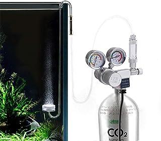 Decdeal 水族館 CO2レギュレーター 12V出力電圧 調整可能 CO2圧力レギュレーター ソレノイド付き 大型ダブル圧力ゲージバブルカウンター CO2 アルミニウムシリンダー CGA320 インターフェイス用 チェックバルブ