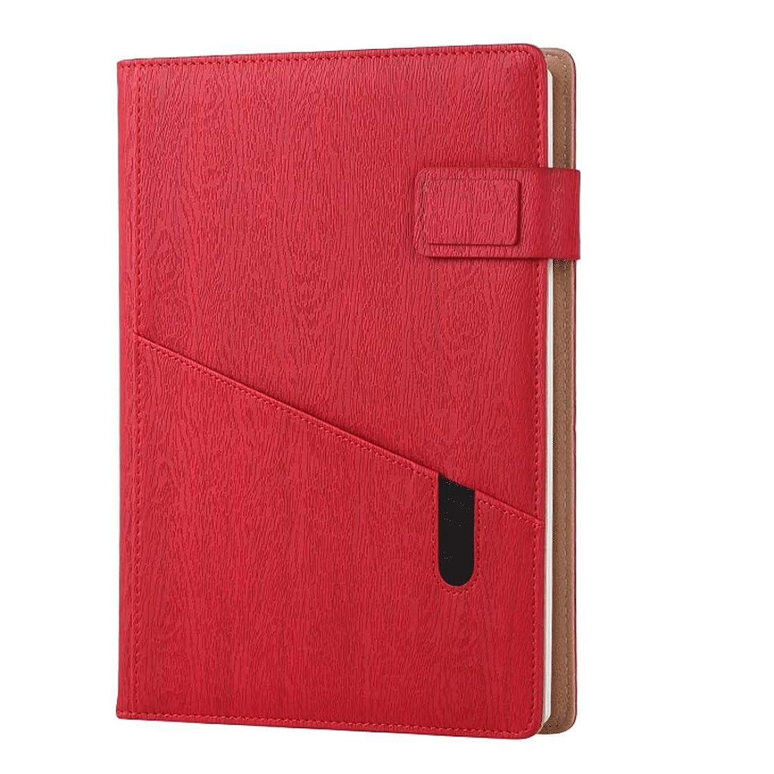 便利楽しませるプレミアムメモ帳 多機能A5ジャーナルメモ帳模造革ビジネス日記メモオフィス学校文具 ノート (Color : Red)