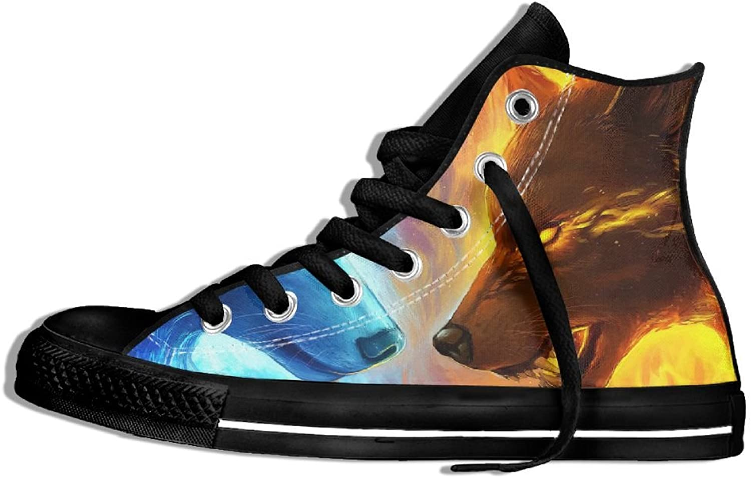 Fire And Ice Wolf Classic Style High Top Flat Canvas shoes Casual Sneaker For Men & Women