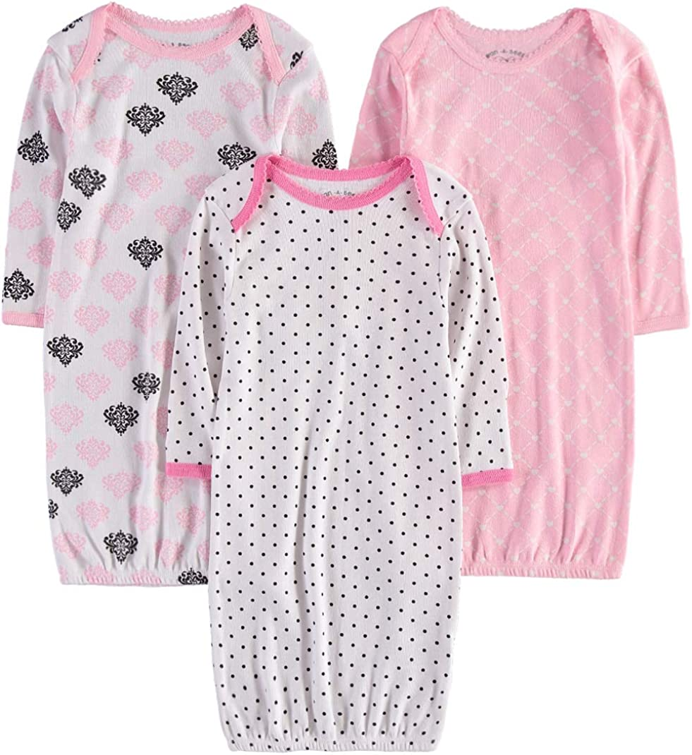 Wan-A-Beez Baby Boys and Girls Long Sleeve Baby Gown - Multi Pack
