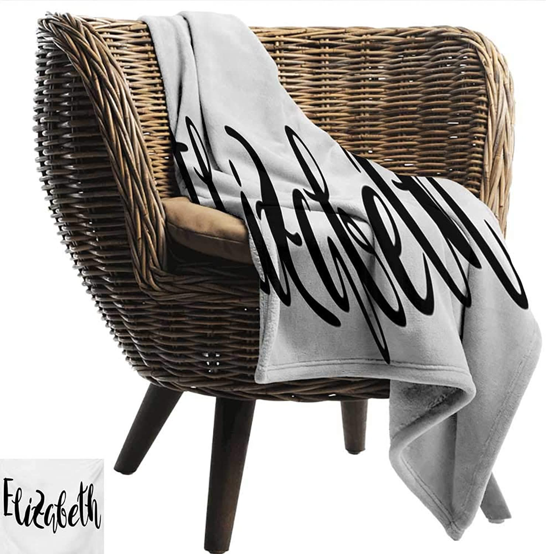 Elizabeth Blanket Sheets Monochrome Inscription Style Modern Calligraphy Design Popular Girl Name All Season Premium Bed Blanket 50  Wx60 L