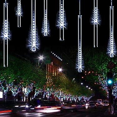 YSIM - Luz de lluvia de meteoritos, luces románticas brillantes ideales para fiestas, bodas, navidad, etc. 8 tubos de 11.8 pulgadas, Art Deco, Blanco