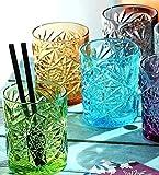 Pagano Home - 6 vasos para agua/wisky, colores surtidos, de cristal, capacidad de 300 ml, color rojo, transparente, lila, verde, naranja y azul