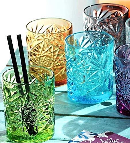 Pagano Home - 6 vasos para agua/wisky de colores variados de cristal, capacidad 320 ml (rojo, transparente, lila, verde, naranja y celeste)