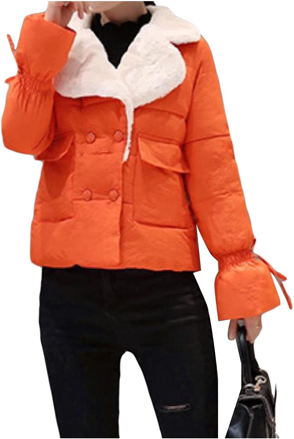 TootlessWomen Loose Fit FoldCollar Solidcolord Wild Parka Jacket