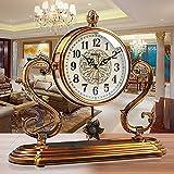 HYYLWJ Reloj de sobremesa con Chimenea de péndulo Reloj de Mesa Retro de Cobre Chapado en Silencio Escritorio con Pilas, decoración de Regalo Relojes de sobremesa económicos