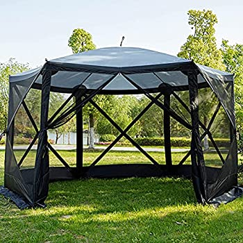 EVER ADVANCED Pop Up Gazebo Screen House Tent for Camping 8-10 Person Instant Canopy Shelter with Netting Portable for Outdoor Backyard