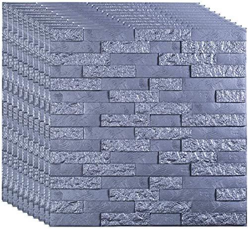 KUNYI Wandaufkleber Weißer Ziegel 3D Wandplatten Peel and Stick Tapete for Wohnzimmer Schlafzimmer Hintergrund Wanddekoration (Color : Silver Grey, Size : 15 Pieces)