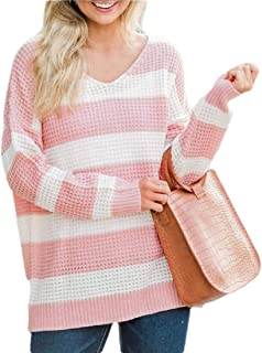 Women Long Sleeve Striped Contrast Color Pullover Sweater V-Neck Loose Fit Casual Tops