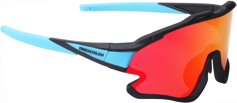 GIEADUN Gafas Ciclismo Polarizadas con 3 Lentes Intercambiables UV 400 Gafas,Corriendo,Moto MTB Bicicleta Montaña,Camping y Actividades al Aire Libre ...