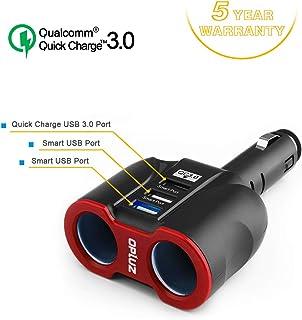 شاحن السيارة الذكي QC3.0، مأخذ 2 + 3 USB (منفذ USB ذكي و 1xQC3.0 منفذ USB ) محول مقسم مقبس السيارة متعدد الوظائف مدمج 10 أ...