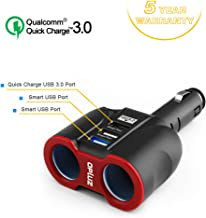 QC3.0 Smart Car Charger, 2 Socket + 3 USB (2xSmart USB Port & 1xQC3.0 USB Port) Multifunction Car Socket Splitter Adapter Built-in 10A Fuse for Smart Phones, Tablets, GPS, MP3 Players