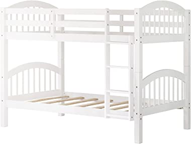 Bunk Bed Twin Over Twin 500 LB Heavy Duty,JULYFOX 2 Pine Wood Bed Frames with Finsbury Headboard Footforad No Box Spring Need Bunk Bed W/Ladder Guard Rails for Teens Juniors Kids Small Spaces-White