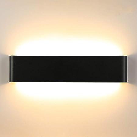 Lightess Applique Murale Intérieur LED 18W 40cm Lampe Murale 3000K Luminaire Mural Moderne IP44 pour Chambre Enfant Salon Escalier Couloir Hôtel Noir Blanc Chaud