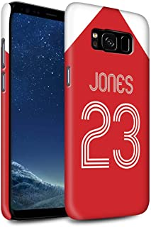 Personalized Custom Soccer Club Jersey Shirt Kit Matte Case for Samsung Galaxy S8/G950 / Red White Design/Initial/Name/Text DIY Snap-On Cover