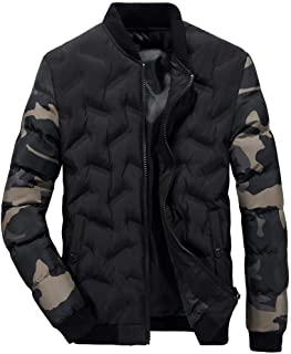 Men's Autumn Winter Camouflage Sleeve Jacket Patchwork Zipper Thermal Coat Stand Collar Outwear