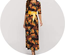Classic Spring Summer Long Dress for Women Bohemian Flowers Printing Party Dress Women Elegant
