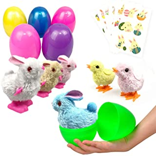 Easter Eggs Filled 6 Pack Surprise Eggs with Wind Up Rabbits Inside, Colorful Pre Plastic Easter Eggs Toys For Kids Easter...