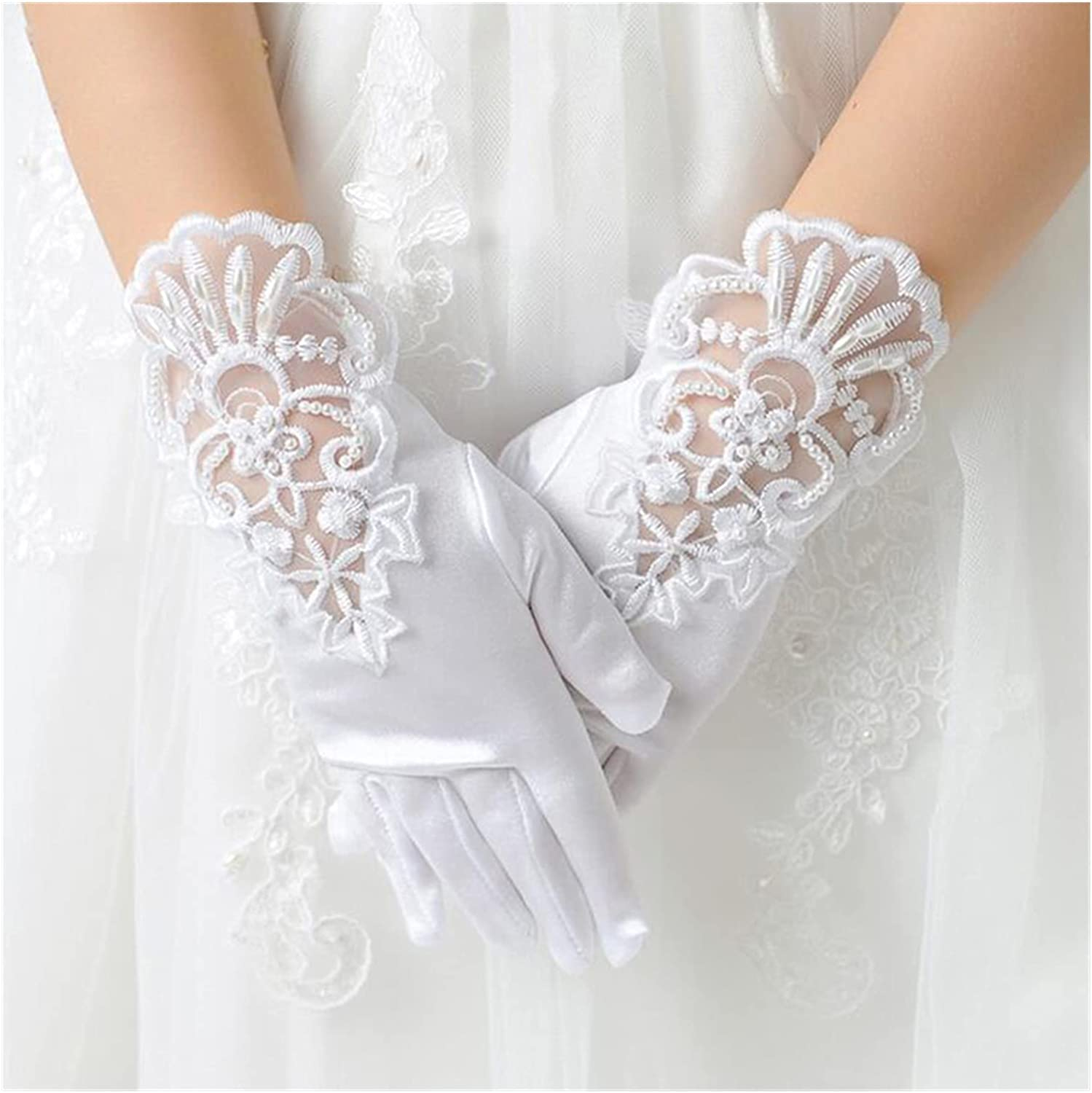 DMYONGLIAN Lace Gloves Kids Gift White Elastic Mesh Cloth Girls Party Formal Etiquette Gloves Pearl Short Lace Bow Children Princess Dance Gloves Accessories (Color : White, Gloves Size : Large)