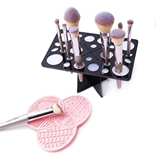 DIOLAN Makeup Brush Cleaning Mat & Makeup Brush Drying Rack, Makeup Brush Cleaner, 28 Holes Makeup Brush Holder, Silicone Rubber Clover Shaped Mat - Pink