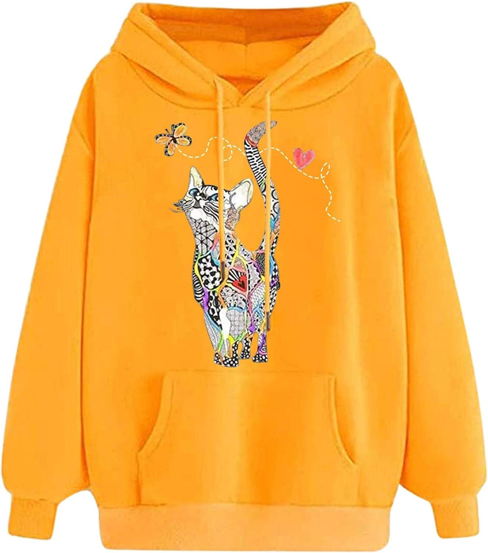 Toeava Women's Hooded Sweatshirt Blouse Kawaii Cat Printing Drawstring Pullover Tops Long Sleeve Top Pullover