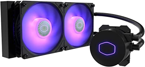 CoolerMaster MasterLiquid ML240L RGB V2, Close-Loop AIO CPU Liquid Cooler, 240 Radiator, Dual SickleFlow 120mm, RGB Lighting, 3rd Gen Dual Chamber Pump for AMD Ryzen/Intel LGA1200/1151