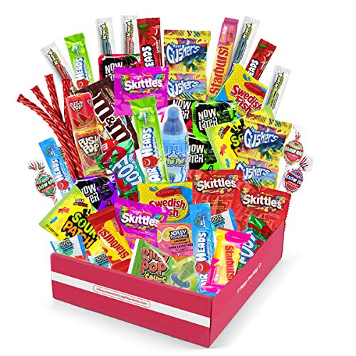 Sweet Choice Bite Sized Candy Care Package - (50 count) A Sampler of Skittles, Sour Patch Kids, Starburst, M&M's, Twizzlers, Airheads, and More! Great for Movie Night, Sleepovers, and Goodie Bags!