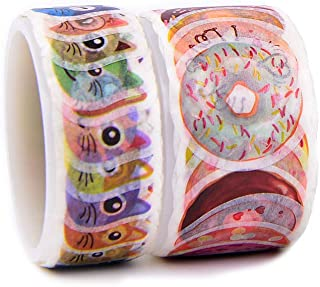 2 Rolls Washi Tape, Cathead and Donut Shape Stickers for Scrapbook, Bullet Journal, Planner, Arts and Crafts DIY, 180 Pieces in Total
