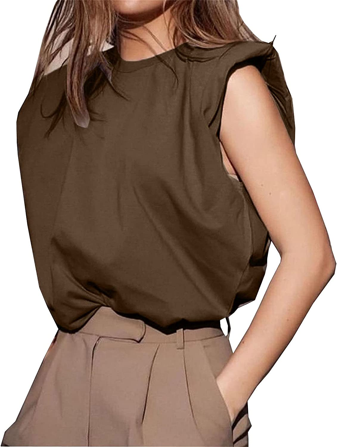 Women Fashion Solid Tank Tops Sleeveless Round Neck Tee Shirts Loose Outerwear Top Vest