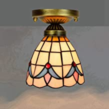 معدات إضاءة الممر الزجاجي الملوَّن بسقف صغير عتيق لممر شرفة الممر، 6 بوصات، عباد الشمس (اللون: أوركيد)