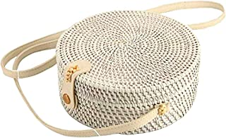 Handwoven Round Rattan Straw Bag for Women Shoulder Leather Button Straps Natural Chic Handmade Boho Bag Bali Purse